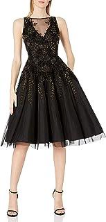 Aidan by Aidan Mattox Women's Sleeveless Beaded Tea Length Dress