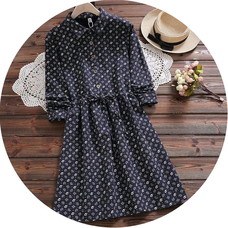 Women Retro Plus Velvet Thick Cotton Dresses Female Long Sleeve Print Dress