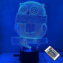 3D illusie nachtlamp, bureaulamp met led, Hibou, 16 kleine USB-oplader, eclairage chambre Décoration voor Enfants Noël Hal...