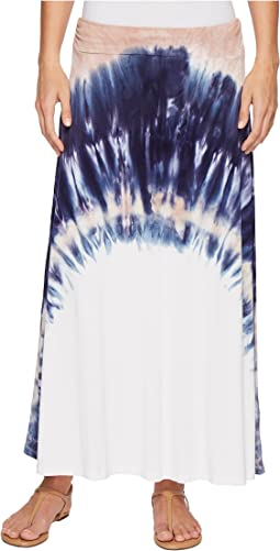 Tribal - Soft Jersey Printed Maxi Skirt in Camelia