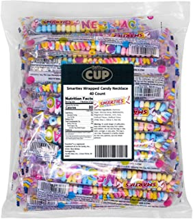 By The Cup Smarties Wrapped Candy Necklace 40 Count