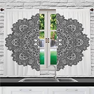 Home & Kitchen Decor Window Treatment Panel Curtains, Lotus,Ornamental Mandala with Lace Pattern Featured Mixed Flower Petals Ethnic Folk Design Decorative,Black White, 55 W X 39 L Inches