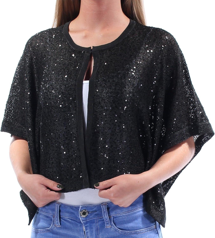 Alfani Womens Black Sequined Bolero Evening Jacket US Size  XS