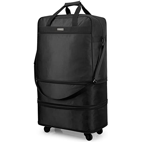 8db0d27a13b0 Hanke Expandable Foldable Suitcase Luggage Rolling Travel Bag Duffel  Garment Tote Bag for Men Women Lightweight