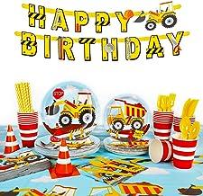 Decorlife 206PCS Construction Birthday Party Supplies, Construction TruckParty Decorations for Kids, Paper Plates, Napkin...