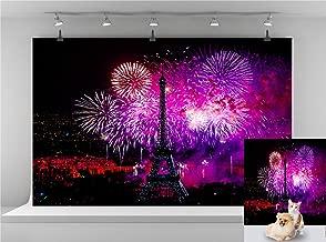 Night Paris Eiffel Tower Backdrop Color Fireworks Photography Background Wedding Birthday Backdrop Happy Bastille Day Celebration Background Photo Booth Backdrop 7x5FT E00T9019