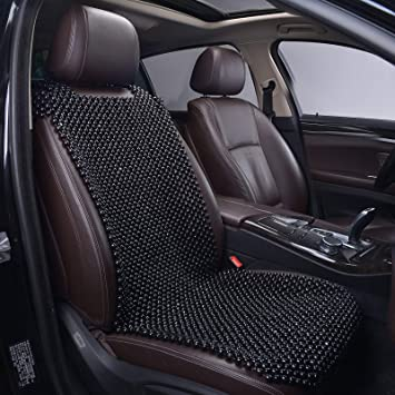 KENNISI Natural Beaded Car Seat Cover Cooling Auto Seats Durable Wooden Bead Cushion for Autumn Stress Free Keeps The Back from Getting Sweaty While Driving 1-PC (1-Black-PJ): image