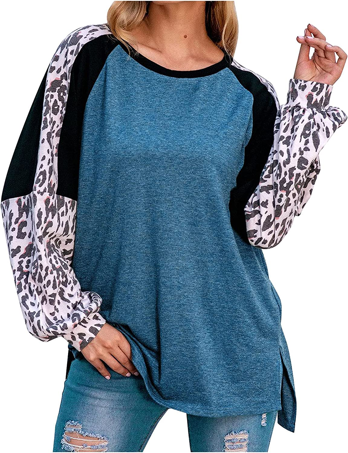 TIMIFIS Womens Pullover Sweatshirts Loose Long Sleeve Shirts Fashion Leopard Splicing Blouses Plus Size