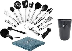 Silicone Cooking Kitchen Utensil Set 23 pieces Non-stick & Heat Resistant Kitchen Tools Cookware Set with Spatula, Measuri...