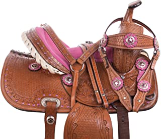 AceRugs 10 12 13 14 Pink Crystal Premium Leather Western Pleasure Trail Show Youth Kids Barrel Racing Pony Horse Saddle TACK Set