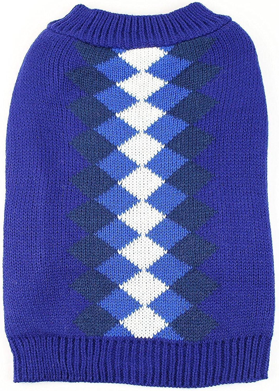 Midlee Argyle Dog Sweater (Large, bluee)