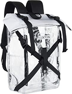 Luxton Home Clear Backpack - Durable School and Stadium Compatible Bag - With 6 Pockets for Transparent Organization - See Through Backpacks for School, Concerts, Heavy Duty Bookbag
