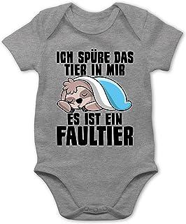 Shirtracer - Sprüche Baby - Ich spüre das Tier in Mir, es ist EIN Faultier - Baby Body Kurzarm für Jungen und Mädchen