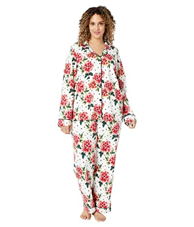 BedHead Pajamas Plus Size Long Sleeve Classic Notch Collar Pajama Set (Room To Bloom) Women