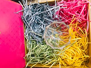 Easter Basket Grass Shredded Tissue Paper Grass for Easter Decoration Hamper Filling and Gift Packaging(Yellow, Pink, Gree...