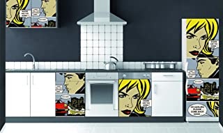 DECORATION adhésive pour CUISINE et réfrigérateurs BD Couleur Autocollant, Polyvinyle, Multicolore, 59,5 x 0,1 x 180 cm