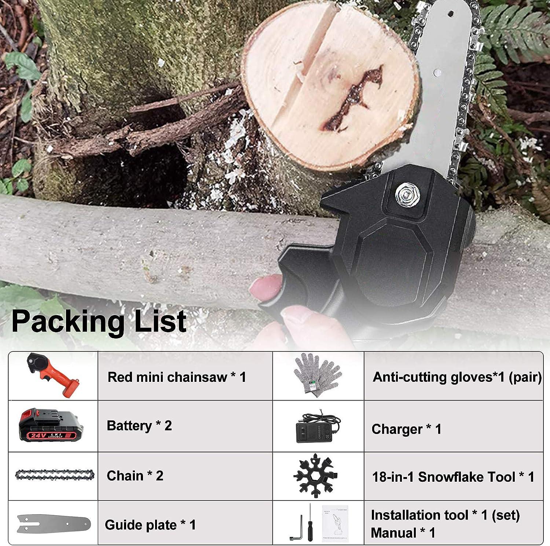 Mini Chainsaw 4-Inch Cordless Power Chain Saws Portable 24V ...