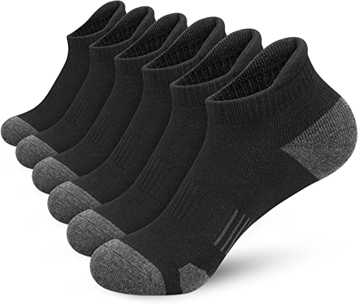 Ankle Socks, Athletic Running Socks Cushioned Breathable Low Cut Sports Socks With Tab Arch Support for Men Women (6Pairs)
