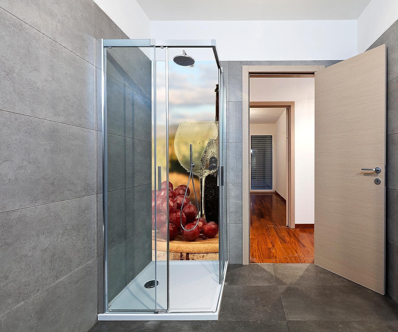 Wandmotiv24 Duschrückwand EIN Glas Wein 70 x 200cm (B x H) - Aluminium 3mm Duschwand Design, Keine Fugen M0840