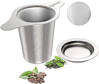 IPOW - Infusor de té y café de acero inoxidable 18/8, filtro de malla fina, colador de té con doble asa para colgar en tet...