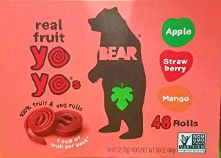 Bear Yoyos Real Fruit Rolls Snacks Leather Variety Pack: Apple, Strawberry, Mango, 24-0.7 oz Count