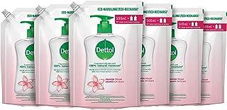 Dettol Handzeep Navulling - Jasmijn - Jasmijn geur verrijkt met 100% natuurlijke oliën - 500ml x6 Grootverpakking