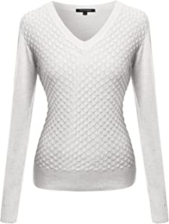 Women's Mermaid Texture Patterned V-Neck Cotton Based Knit Sweater