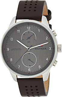 Tommy Hilfiger Men'S Grey Dial Brown Leather Watch - 1791579