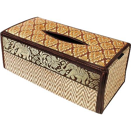 à mouchoirs, Boîte cache Boîte fait en roseau osier. Produit ECO, fabriqué en matériaux durables avec bordure de luxe en soie avec motif d'éléphant en profil sur le coté de la boîte. (B Marron)