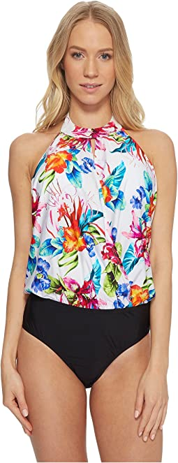 Tropical Trip High Neck Blouson Maillot