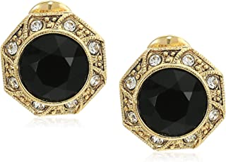 Women's Gold Tone Black Faceted Crystal Round Button Clip Earrings, Black, One Size