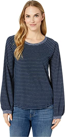 Balloon Sleeve Stripe Top