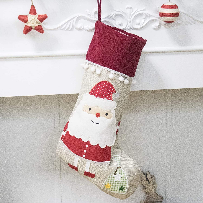 extra larges D/écoration de No/ël /à suspendre /él/éphant Lot de 2 chaussettes de No/ël en toile de jute naturelle pour chemin/ée 44 cm Arbre de No/ël
