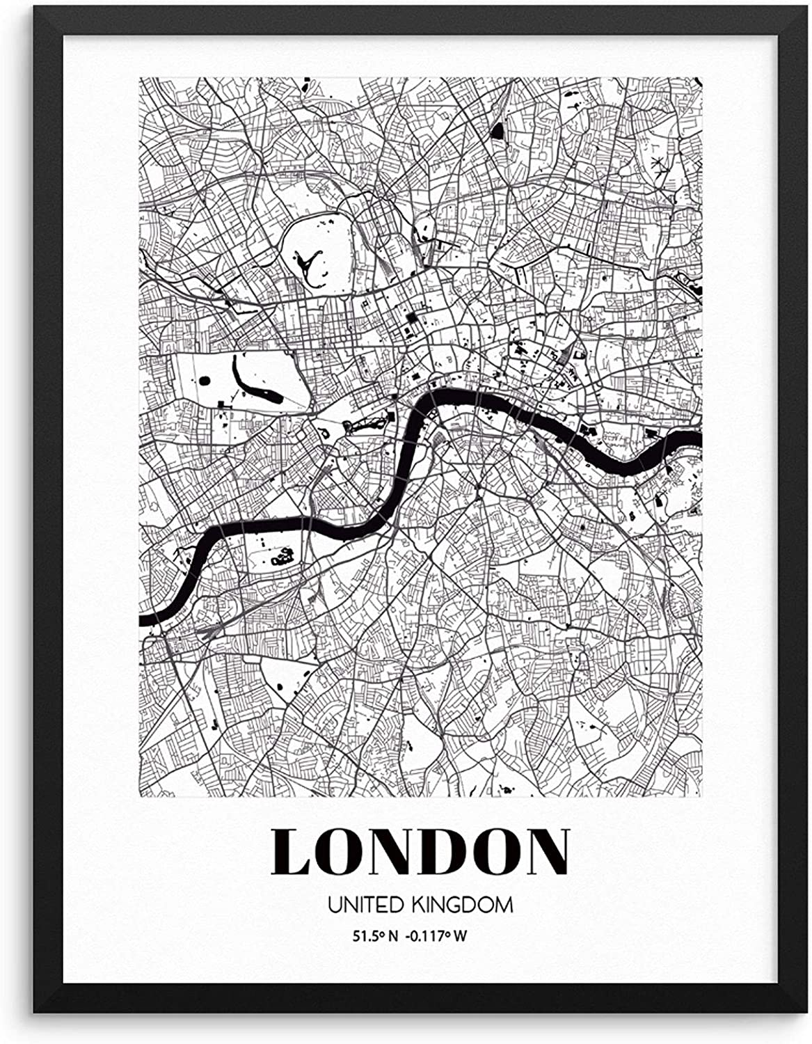 London City Grid Map Art Print England Cityscape Road Map Wall Poster  20