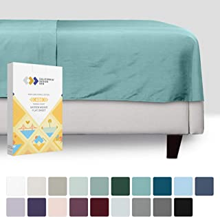 California Design Den Teal Queen Flat Sheet Only - Pure Long Staple Cotton Top Sheet Sold Separately, Wrinkle Resistant 400 Thread Count, 1 Piece Smooth Sateen Weave Bedsheet