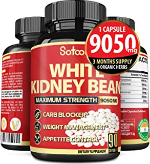 Pure White Kidney Bean Capsules 9050 mg, Carb Blocking Benefits, Support Carbohydrate and Starch Blocking -...