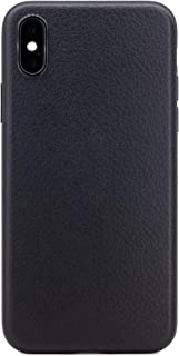 ZUKOU Phone case for iPhone X Black Leather Texture Embossed Soft Ultra Slim fit Thin Protective Lightweight Wireless Char...