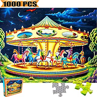 Cool Wall Decal Sticker Vinyl Jigsaw Puzzles 1000 Pieces Puzzles for Adults Artwork Art for Teen Adult Grown Up Puzzles Large Size Toy Educational Games Gift 1000 PCS Entertainment (Carousel)