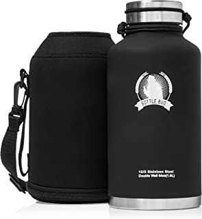 Bottle Bud Stainless Steel Growler – Keeps Beer Carbonated and Cold for More Than 24 Hours - Keeps Drinks Hot for 12 Hours - Leak Proof Lid, Neoprene Carry Case – Vacuum Insulated Beer Growler 64 oz