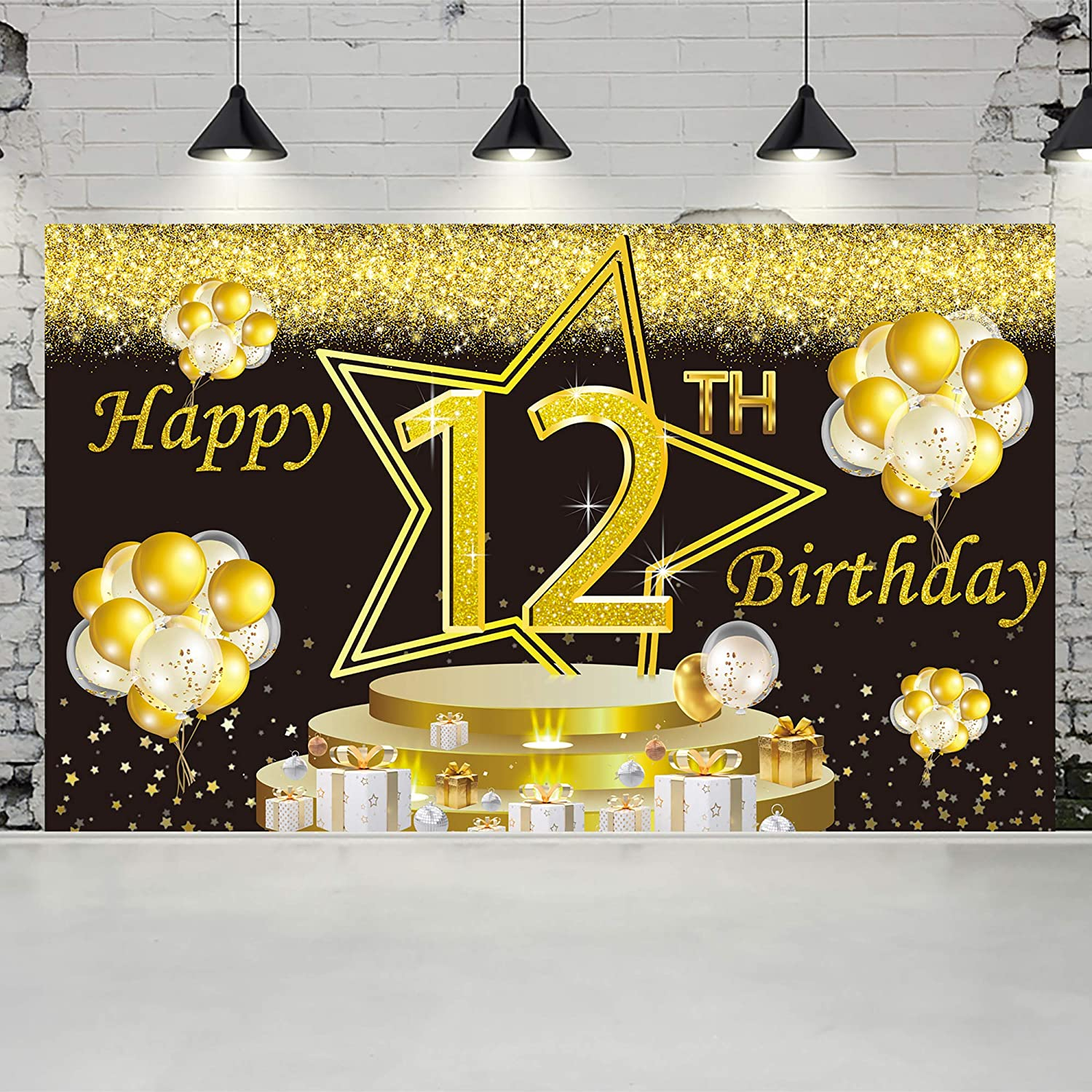 Ushinemi Happy 12th Birthday Backdrop 12 Years Old Birthday Banner Party Decorations, Large Bday Wall Decor Signs, 6X3.6 Ft, Gold and Black