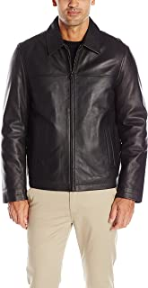 Men's Smooth Lamb Leather Laydown Collar Open Bottom Jacket