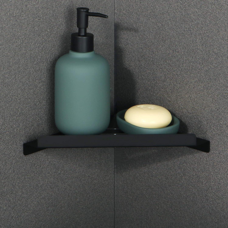 Sayayo Corner Shelf SUS304 Stainless Steel Bathroom Shower Shelf No Drilling Installation Option Shower Caddy Floating Corner Shelves in Matte Black EGLY001-B