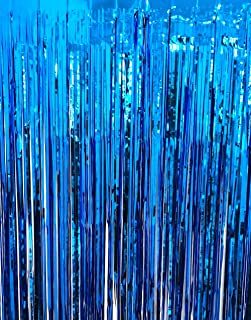 GOER 3.2 ft x 9.8 ft Metallic Tinsel Foil Fringe Curtains for Party Photo Backdrop Wedding Decor (Navy Blue,3 pcs)