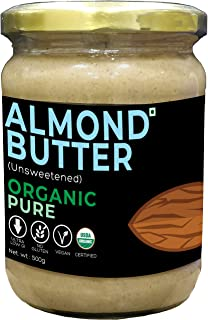 d alive Almond Butter (Unsweetened) - 500g (USDA Organic Certified, Artisanal, Sugar-free, Gluten-free, Low Carb, High Pro...