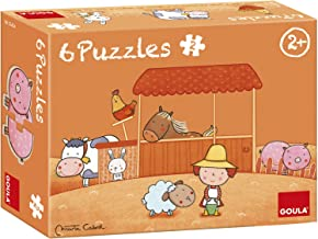 Diset Goula Carla's Farm 6-in-1 Shaped Wooden Puzzles