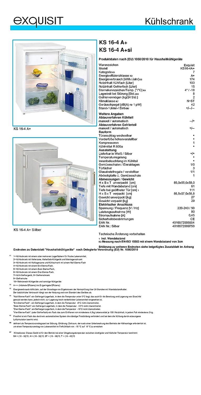 Exquisit KS 16-4 Rva+ //K/ühlteil130 liters K/ühlschrank//A+