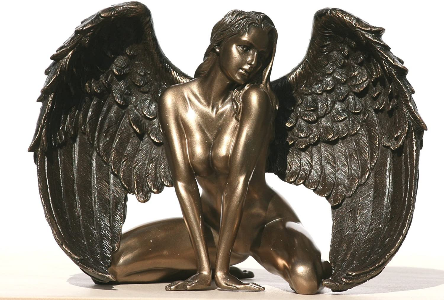 Bronzed Finish Kneeling Nude Winged At the price Female Statue Free shipping anywhere in the nation