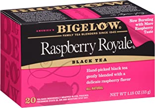 Bigelow Raspberry Royale Tea Bags 20-Count Boxes (Pack of 6), 120 Tea Bags Total. Caffeinated Individual Black Tea Bags, for Hot or Iced Tea, Drink Plain or Sweetened with Honey or Sugar