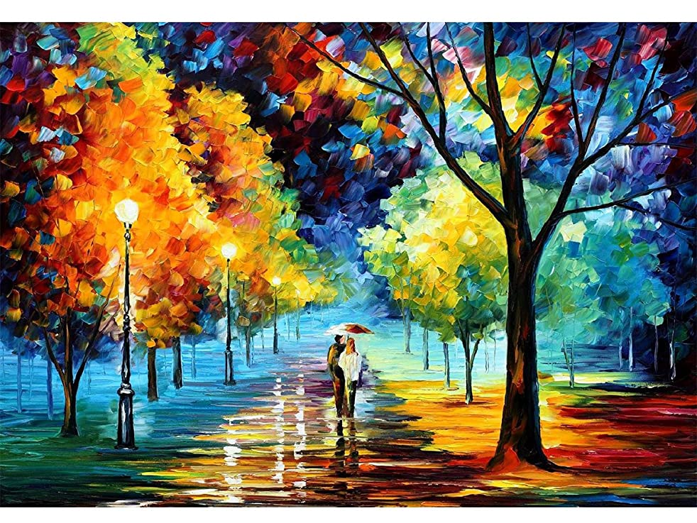 Mobicus 5D DIY Diamond Painting,by Number Kits Crafts & Sewing Cross Stitch,Wall Stickers for Living Room Decoration,Lovers(12X18inch/30X45CM)