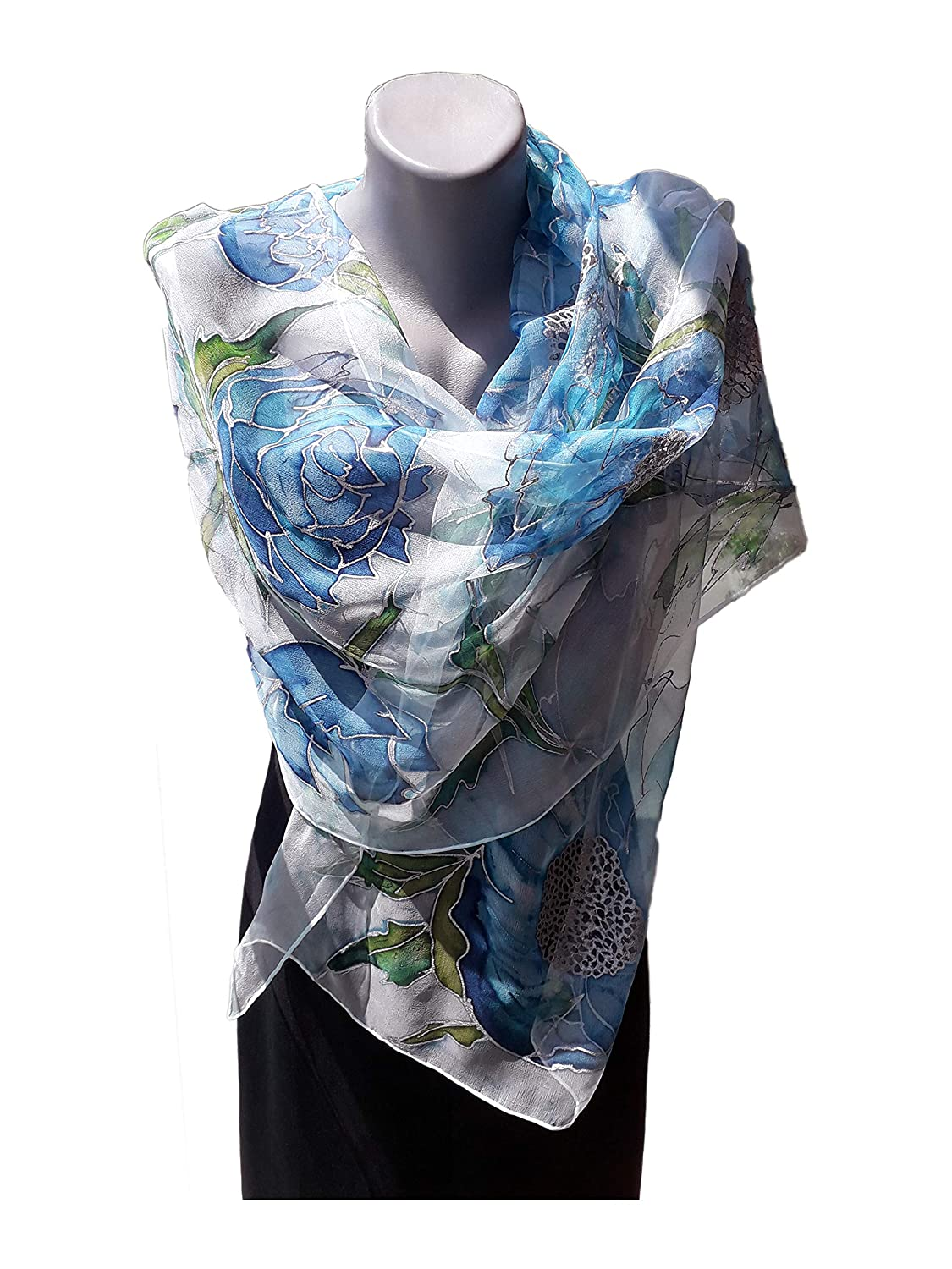 BLUE LOVE Hand Painted Silk S Pure Challenge the lowest price of Japan Special price Woman Scarf
